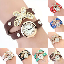 Women New Popular Vintage Butterfly Pendant Leather Bracelet Quartz Wrist Watch
