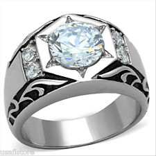 Mens 2.76ct Cubic Zirconia Star Silver Stainless Steel Ring