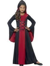 Child Hooded Vampire Robe Outfit Fancy Dress Costume Halloween Gothic Kids Girls