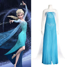 New Blue Princess Costume Cosplay Adult Women Lady Girls Tulle Elsa Dress S/M/L