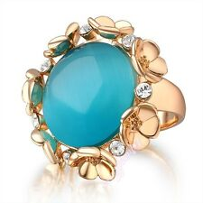 Cocktail Ring Round Cat's Eye Blue Green Gem for Party US 4size GIFT BOX R567