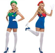 Jumping Plumber Mario Women Adult Halloween Costume Fancy Party Dress @ms5706