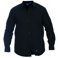 "Mens Big Size Duke Black Long Sleeve Soft Touch Shirt - Collar 20"" 21"" 22"" 23"""