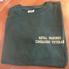 ROYAL MARINES COMMANDO VETERAN T SHIRT IN GREEN WITH GOLD WRITING