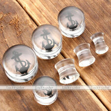 Punk Transparent Anchor Double Flared Ear Tunnel Plug Expander Stretcher Acrylic