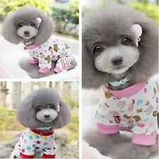 Cute Pet Dog Cotton Pajamas Clothes Puppy Cartoon Pattern Jumpsuit Shirt Apparel