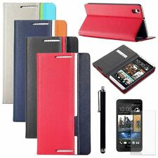 Hybrid PU Leather Wallet Style Case Stand Cover For HTC Desire 816 +Film +Stylus