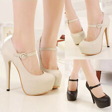 Womens Mary Jane Stilettos High Heels Classic Pumps Hidden Platform Prom Shoes