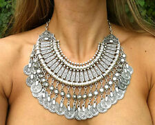 Bohemian Antalya Gypsy Festival Turkish Silver Coin Collar Statement Necklace
