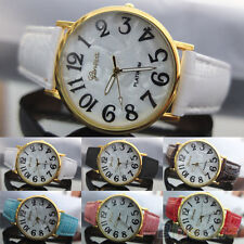 Mens Womens Chic Elegant Geneva Shell Face Style Faux Leather Quartz Wrist Watch