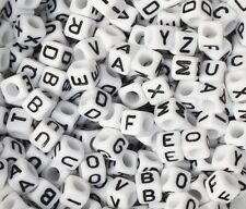 100pcs White Single Letter A-Z Acrylic Cube Alphabet Beads 6MM Jewelry Findings