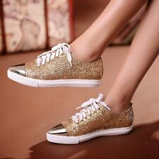 Fashion Women's Pointed Toe Lace Up Gold Sequins Comfy Sport Sneaker Dance Shoes