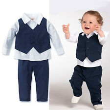 Fashion 3PC Set Baby Kids Boy Shirt Tops+Pants+Waistcoat Gentleman Party Clothes