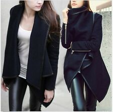 Elegant Ladies Winter Warm Zipper PU Edge Leather Trench Coat  Jacket Outwear-S