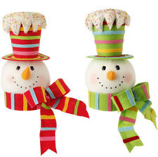 Snowman Head Christmas Tree Topper Decoration 15in sp 3416360 NEW RAZ candycolor