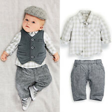 New Newborn baby boy Grey Waistcoat + Pants + Shirts clothes sets Suit 3PCS
