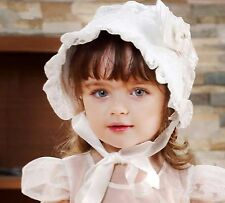 Baby Shower Retro Infant Girls Christening Lace Sun hat beanie cap Bonnet 0-6mth