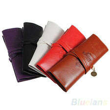 Retro Modish Cool Roll Leather Make up Cosmetic Pen Pencil Case Pouch Purse Bag