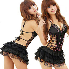 Sexy Lady Cool Babydoll Mini Dress Underwear Backless Lace Lingerie Set G-string