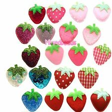 "*U PICK*30-80 Strawberry Fruit 7/8"" Padded Applique hair scrapbook fabric craft"