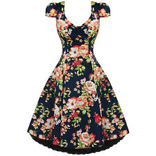 Womens Ladies New Vintage 1950S Vtg Navy Blue Floral Party Prom Evening Dress