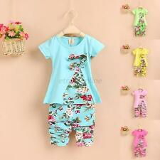 Baby Kids Girls Floral Bowknot Cotton Shirt Tops+Pant Two Piece Set Clothes 2-7Y
