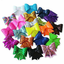 Large Shiny Sequin Bow Hair Clips Grips. Girls Wedding Prom Bridal Accessory.