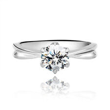 WOMENS LADIES 316L STAINLESS STEEL CLASSIC SOLITAIRE CZ WEDDING ENGAGEMENT RING.