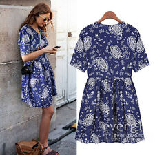 BOHO Womens Short Sleeve Floral Chiffon Party Tunic Mini Dress Long T-Shirt Blue