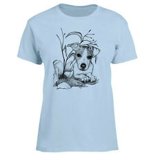 Ladies T-shirt Naughty Jack Russell Dog Art