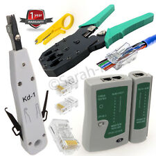 RJ45 RJ11 Network Lan Cat5e Cable Tester Crimping Punch krone Tool BNC Plier UK