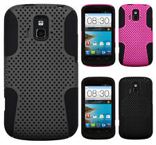 For Cricket ZTE Sonata 4G MESH Hybrid Silicone Rubber Skin Case Phone Cover