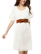Ladies Semi Sheer Short Sleeve Elastic Waist Dress w Belt
