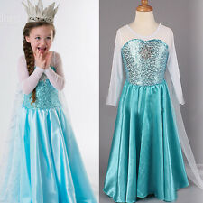 Halloween Frozen Elsa Gown Costume Cosplay Ice Queen Princess Formal Fancy Dress