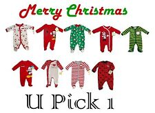 BABY BOYS GIRLS CHRISTMAS SLEEP PLAY OUTFIT FOOTIE SLEEPER FOOTED KIDS CHILDRENS