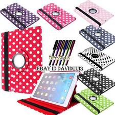 NEW 360 Deg Rotating Stand Polka Dots Leather Case Cover For tablet