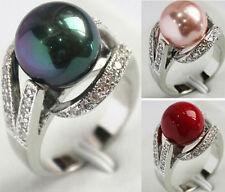 8Colors 12mm South Sea shell pearl Gemstone Jewelry Ring Size 6 7 8 9 AAA Grade