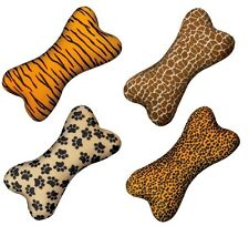 """WILD STYLE Soft Plush Bone Shaped Toys For Dogs With Squeaker & Animal Theme 8"""""""