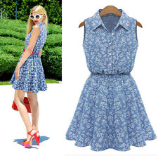 1PC Summer Fashion Women Lady Lapel Sleeveless Casual Slim Denim Dress Perfect