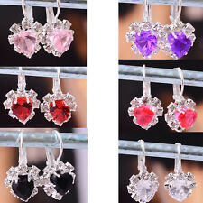 Womens Swarovski Crystal Silver Plated Earring Dangle Pink/Black Jewelry Gift