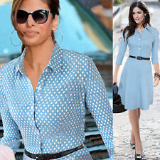 Womens Blue Pinup Belted Polka Dot Wear to Work A Line Skater Shirt Dress