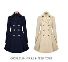 NEW navy Double Breasted Pea Coat Jacket women outwear slim fit trench coat