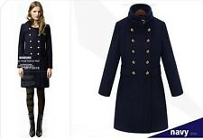 Women Handsome Trench Military Long Wool New Coat/Slim Double-breasted Jacket