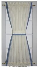 Country Primitive Door Panel Curtains Natural with Color Accent Trim French