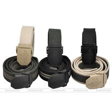 Mens Western Sports Thick Canvas Outdoor Tactical Webbing Smooth Buckle Belt