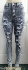 Ultra High rise waist acid wash destroyed ripped rips premium pants jeans G650H