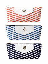 New Retro Crown Stripe Canvas Pencil Case Pouch Cosmetic Makeup Bag Coin Purse