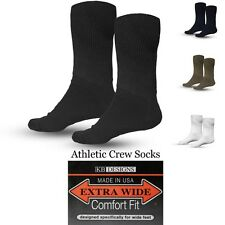 Extra Wide Athletic Crew Socks 1-Pack  Sizes 8-11, 11-16, 16-21 Made in USA