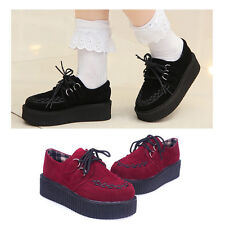 Women Ladies Lace Up Suede Creeper Shoes Goth Punk Platform Flats Sneakers Boots