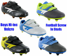 New Boys Hi-Tec EOS Velcro Screw In Stud Football Soccer Velcro Boots Size 10-6